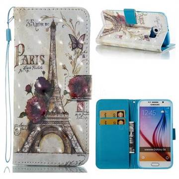 Flower Eiffel Tower 3D Painted Leather Wallet Case for Samsung Galaxy S6 G920