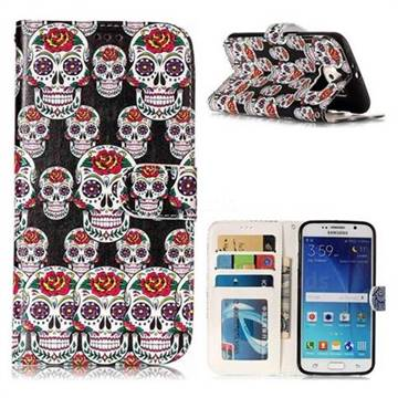 Flower Skull 3D Relief Oil PU Leather Wallet Case for Samsung Galaxy S6 G920