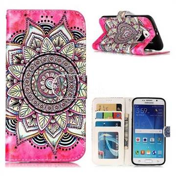 Rose Mandala 3D Relief Oil PU Leather Wallet Case for Samsung Galaxy S6 G920