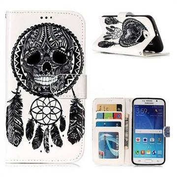 Wind Chimes Skull 3D Relief Oil PU Leather Wallet Case for Samsung Galaxy S6 G920