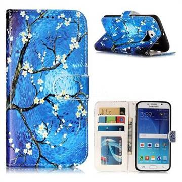 Plum Blossom 3D Relief Oil PU Leather Wallet Case for Samsung Galaxy S6 G920