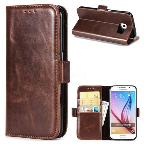 Luxury Crazy Horse PU Leather Wallet Case for Samsung Galaxy S6 G920 - Coffee