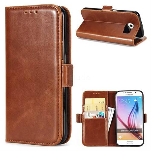 Luxury Crazy Horse PU Leather Wallet Case for Samsung Galaxy S6 G920 - Brown