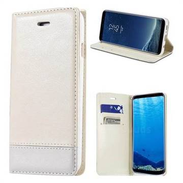 Magnetic Suck Stitching Slim Leather Wallet Case for Samsung Galaxy S6 G920 - White