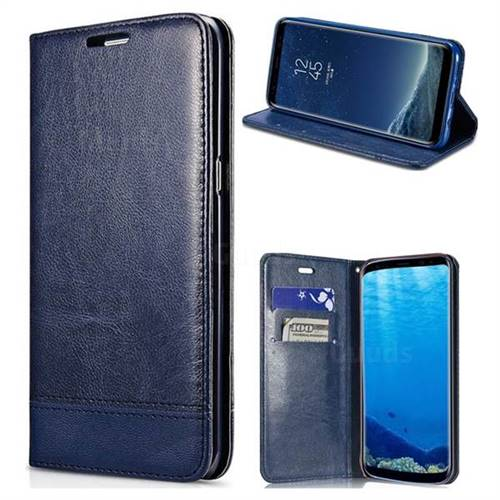 Magnetic Suck Stitching Slim Leather Wallet Case for Samsung Galaxy S6 G920 - Sapphire