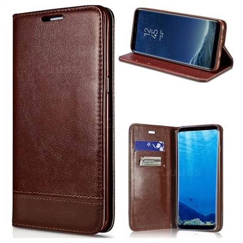 Magnetic Suck Stitching Slim Leather Wallet Case for Samsung Galaxy S6 G920 - Brown