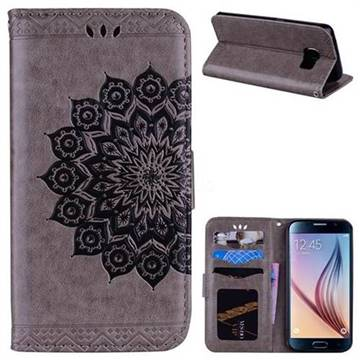 Datura Flowers Flash Powder Leather Wallet Holster Case for Samsung Galaxy S6 G920 - Gray