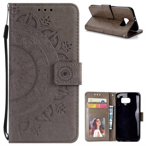 Intricate Embossing Datura Leather Wallet Case for Samsung Galaxy S6 G920 - Gray
