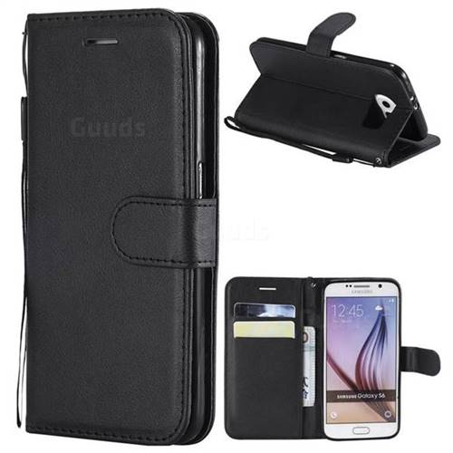 Retro Greek Classic Smooth PU Leather Wallet Phone Case for Samsung Galaxy S6 G920 - Black