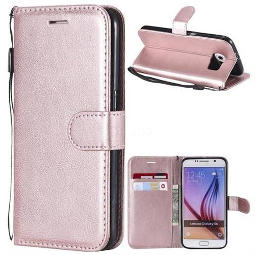 Retro Greek Classic Smooth PU Leather Wallet Phone Case for Samsung Galaxy S6 G920 - Rose Gold