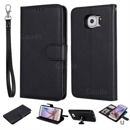 Retro Greek Detachable Magnetic PU Leather Wallet Phone Case for Samsung Galaxy S6 G920 - Black