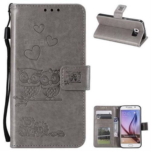 Embossing Owl Couple Flower Leather Wallet Case for Samsung Galaxy S6 G920 - Gray