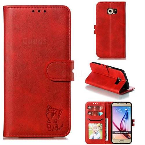 Embossing Happy Cat Leather Wallet Case for Samsung Galaxy S6 G920 - Red