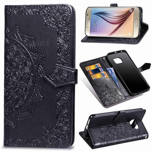 Embossing Imprint Mandala Flower Leather Wallet Case for Samsung Galaxy S6 G920 - Black