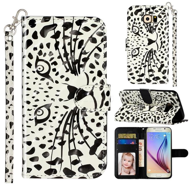 Leopard Panther 3D Leather Phone Holster Wallet Case for Samsung Galaxy S6 G920