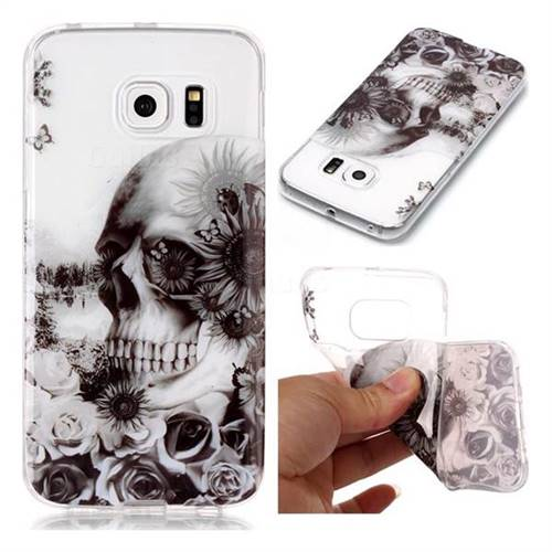 Black Flower Skull Super Clear Soft TPU Back Cover for Samsung Galaxy S6 Edge G925