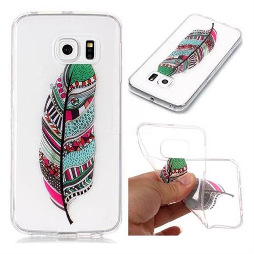 Green Feathers Super Clear Soft TPU Back Cover for Samsung Galaxy S6 Edge G925