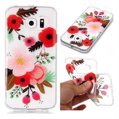 Painting Flowers Super Clear Soft TPU Back Cover for Samsung Galaxy S6 Edge G925