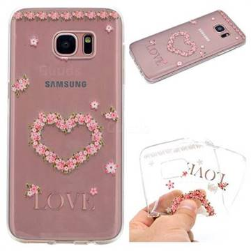 Heart Garland Super Clear Soft TPU Back Cover for Samsung Galaxy S6 Edge G925