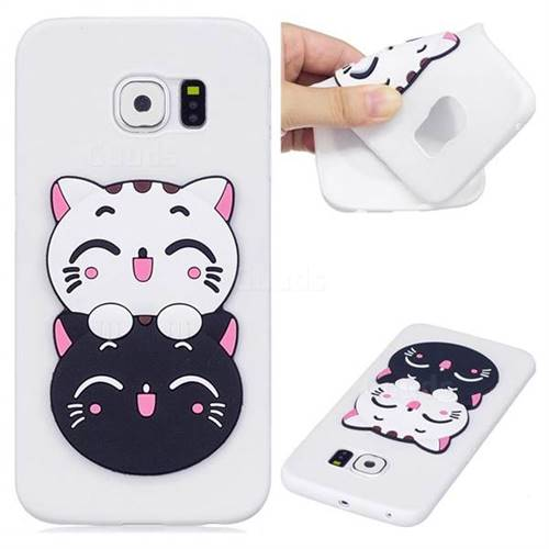 Couple Cats Soft 3D Silicone Case for Samsung Galaxy S6 Edge G925