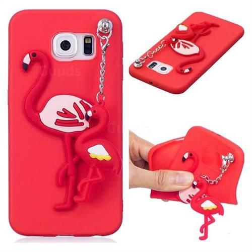 meet 3a1e3 eba12 Flamingo Pendant Soft 3D Silicone Case for Samsung Galaxy S6 Edge G925 - Red