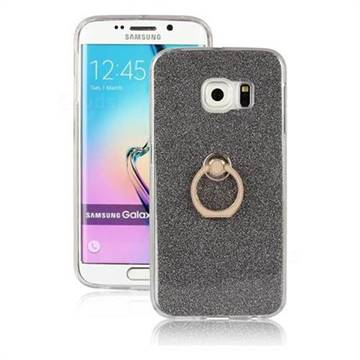 Luxury Soft TPU Glitter Back Ring Cover with 360 Rotate Finger Holder Buckle for Samsung Galaxy S6 Edge G925 - Black