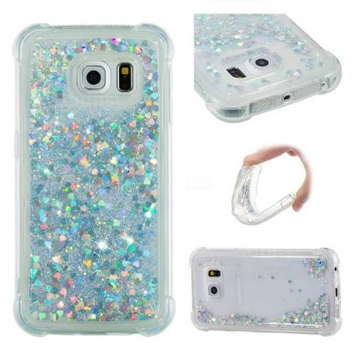Dynamic Liquid Glitter Sand Quicksand Star TPU Case for Samsung Galaxy S6 Edge G925 - Silver
