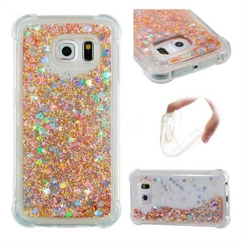 Dynamic Liquid Glitter Sand Quicksand Star TPU Case for Samsung Galaxy S6 Edge G925 - Diamond Gold