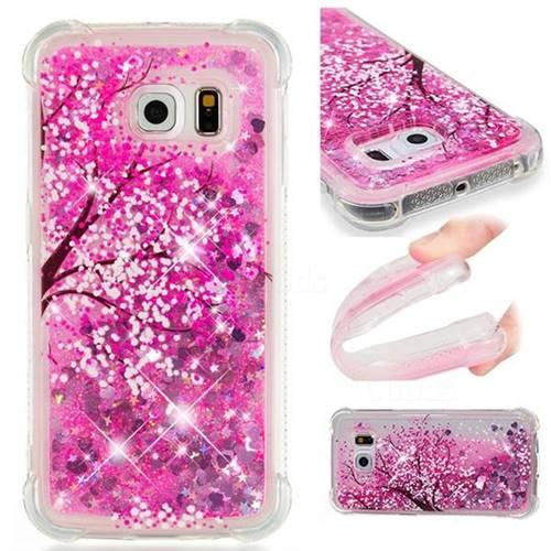 Pink Cherry Blossom Dynamic Liquid Glitter Sand Quicksand Star TPU Case for Samsung Galaxy S6 Edge G925