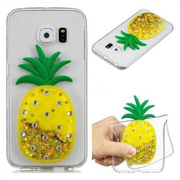 Gold Pineapple Liquid Quicksand Soft 3D Cartoon Case for Samsung Galaxy S6 Edge G925