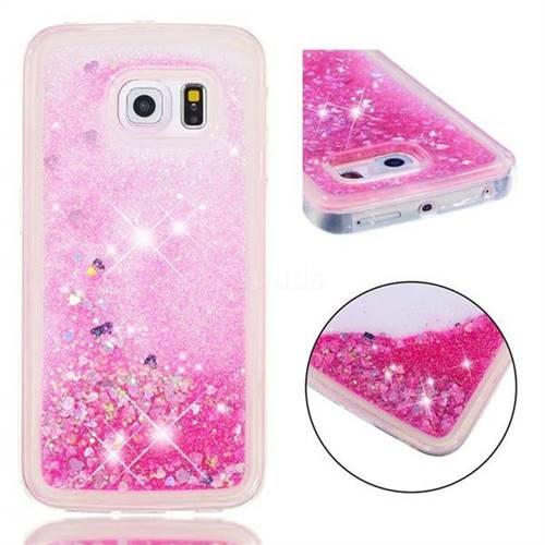 Dynamic Liquid Glitter Quicksand Sequins TPU Phone Case for Samsung Galaxy S6 Edge G925 - Rose