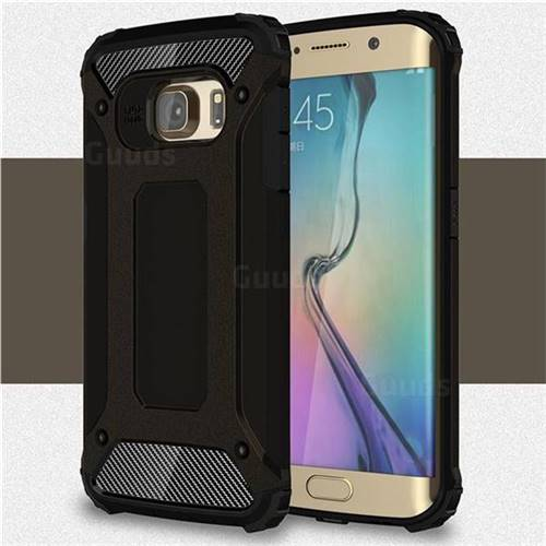 King Kong Armor Premium Shockproof Dual Layer Rugged Hard Cover for Samsung Galaxy S6 Edge G925 - Black Gold