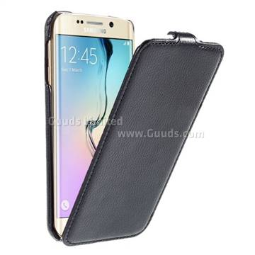 save off d069f 0eecc Litchi Leather Vertical Flip Cover for Samsung Galaxy S6 Edge G925 - Black