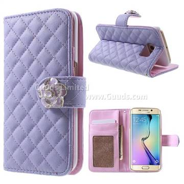 official photos 602f8 56d04 Diamond Flower Rhombus Leather Wallet Case for Samsung Galaxy S6 Edge G925  - Purple