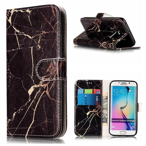 Black Gold Marble PU Leather Wallet Case for Samsung Galaxy S6 Edge G925
