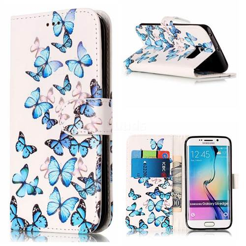 Blue Vivid Butterflies PU Leather Wallet Case for Samsung Galaxy S6 Edge G925