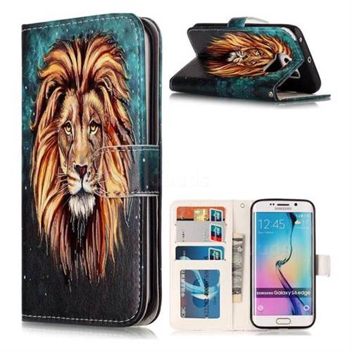 Ice Lion 3D Relief Oil PU Leather Wallet Case for Samsung Galaxy S6 Edge G925