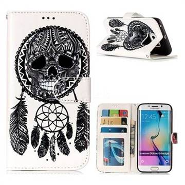 Wind Chimes Skull 3D Relief Oil PU Leather Wallet Case for Samsung Galaxy S6 Edge G925