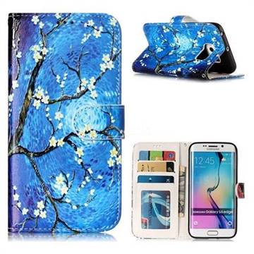 Plum Blossom 3D Relief Oil PU Leather Wallet Case for Samsung Galaxy S6 Edge G925