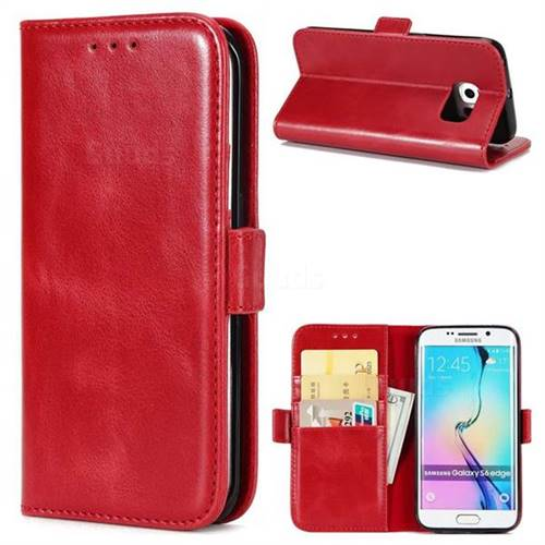 Luxury Crazy Horse PU Leather Wallet Case for Samsung Galaxy S6 Edge G925 - Red