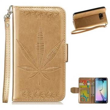 Intricate Embossing Maple Leather Wallet Case for Samsung Galaxy S6 Edge G925 - Champagne