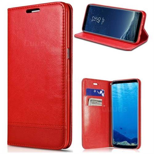 Magnetic Suck Stitching Slim Leather Wallet Case for Samsung Galaxy S6 Edge G925 - Red