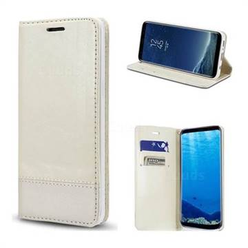 Magnetic Suck Stitching Slim Leather Wallet Case for Samsung Galaxy S6 Edge G925 - White