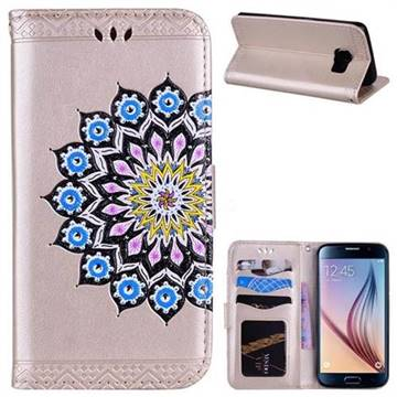 Datura Flowers Flash Powder Leather Wallet Holster Case for Samsung Galaxy S6 Edge G925 - Golden