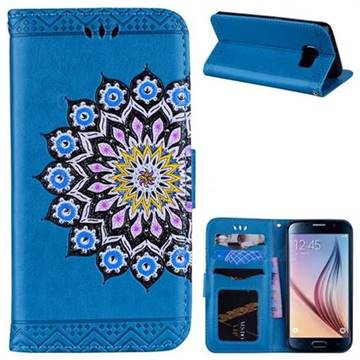 Datura Flowers Flash Powder Leather Wallet Holster Case for Samsung Galaxy S6 Edge G925 - Blue