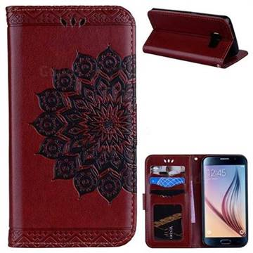 Datura Flowers Flash Powder Leather Wallet Holster Case for Samsung Galaxy S6 Edge G925 - Brown