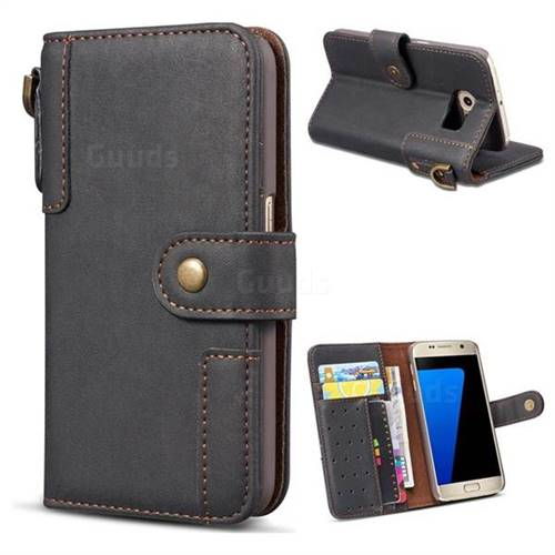 Retro Luxury Cowhide Leather Wallet Case for Samsung Galaxy S6 Edge G925 - Black