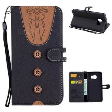 Ladies Bow Clothes Pattern Leather Wallet Phone Case for Samsung Galaxy S6 Edge G925 - Black