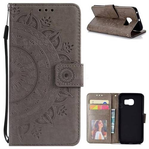 Intricate Embossing Datura Leather Wallet Case for Samsung Galaxy S6 Edge G925 - Gray