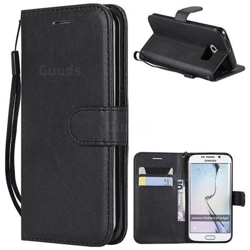 Retro Greek Classic Smooth PU Leather Wallet Phone Case for Samsung Galaxy S6 Edge G925 - Black